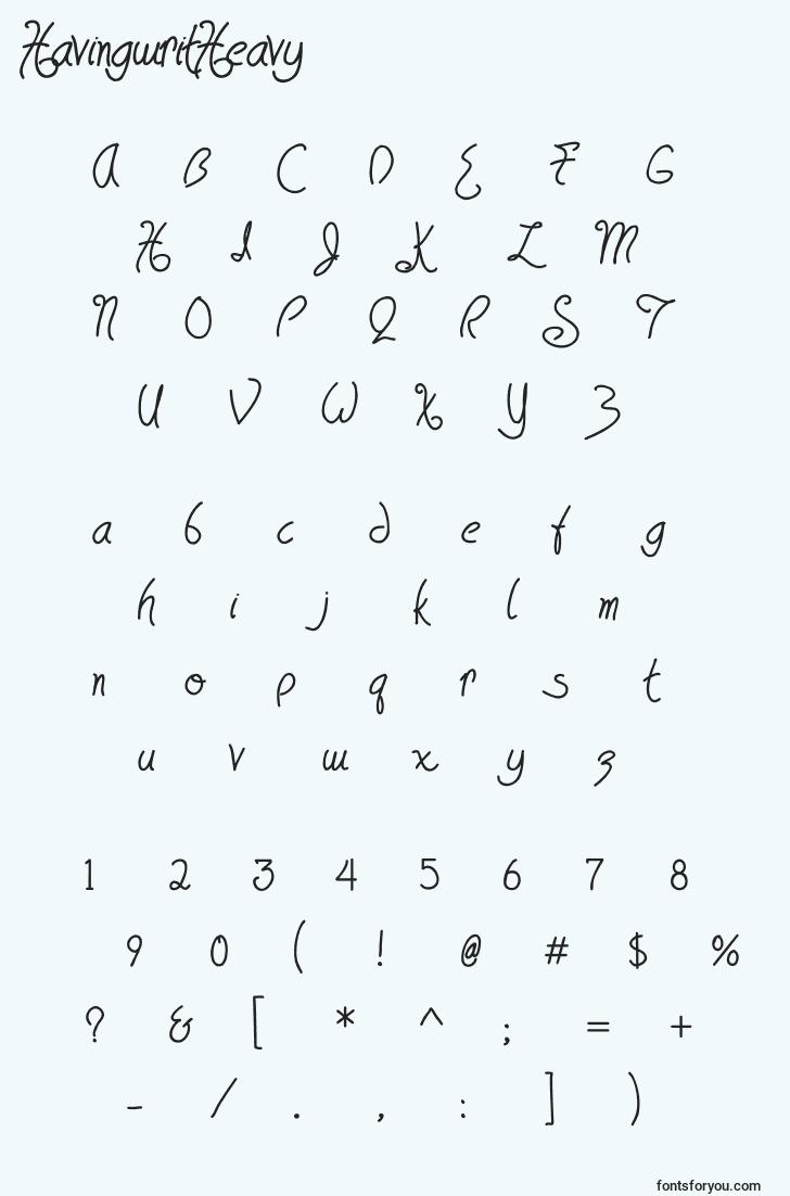 characters of havingwritheavy font, letter of havingwritheavy font, alphabet of  havingwritheavy font