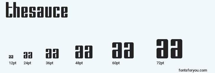 sizes of thesauce font, thesauce sizes