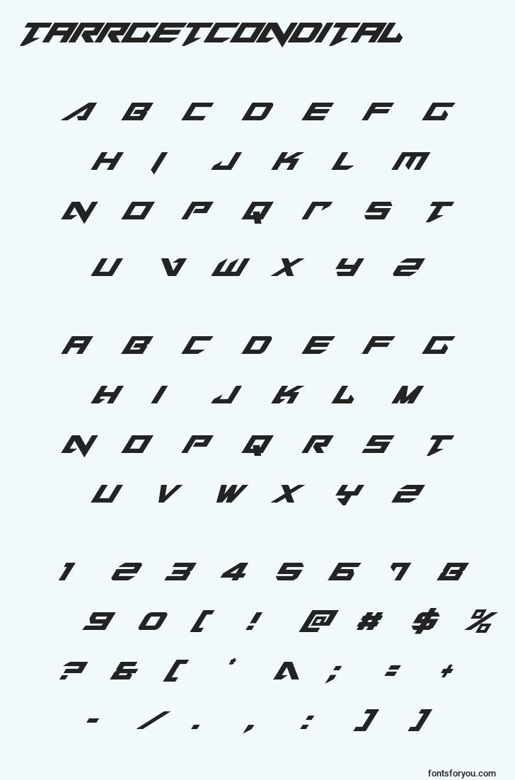 characters of tarrgetcondital font, letter of tarrgetcondital font, alphabet of  tarrgetcondital font