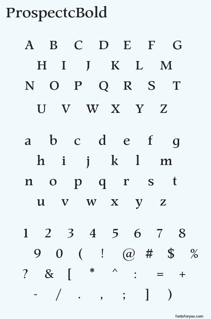characters of prospectcbold font, letter of prospectcbold font, alphabet of  prospectcbold font