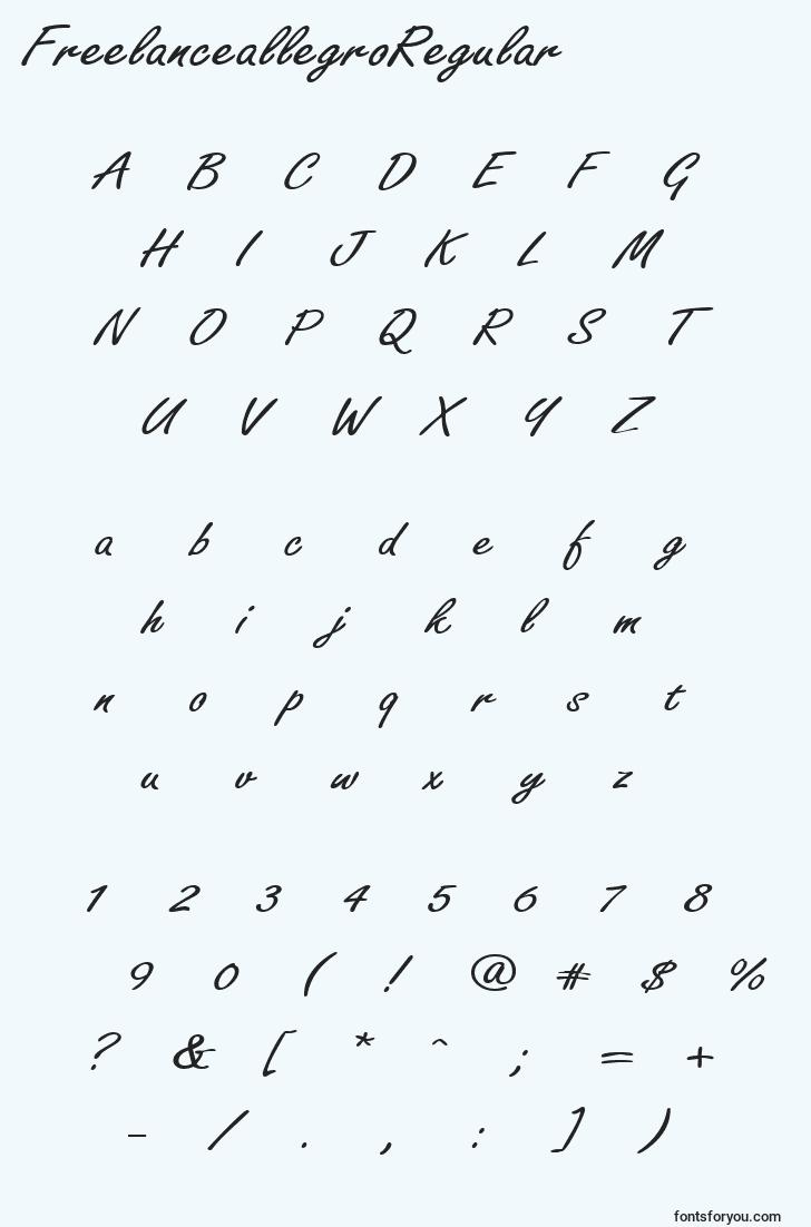 characters of freelanceallegroregular font, letter of freelanceallegroregular font, alphabet of  freelanceallegroregular font