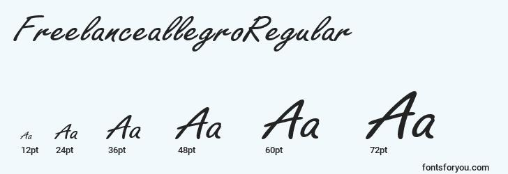 sizes of freelanceallegroregular font, freelanceallegroregular sizes
