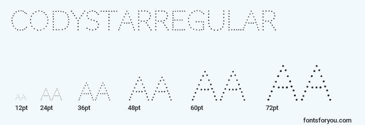 sizes of codystarregular font, codystarregular sizes