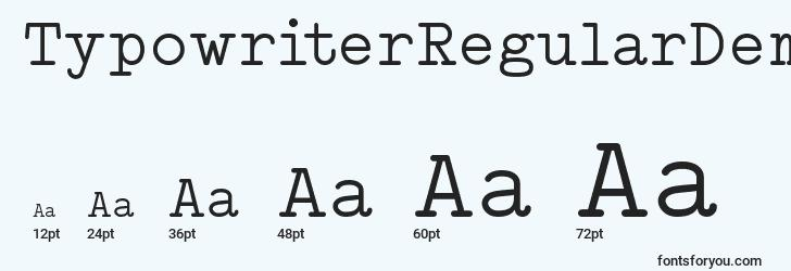 sizes of typowriterregulardemo font, typowriterregulardemo sizes