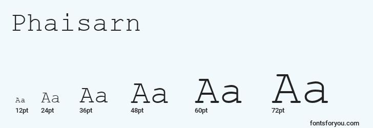 sizes of phaisarn font, phaisarn sizes