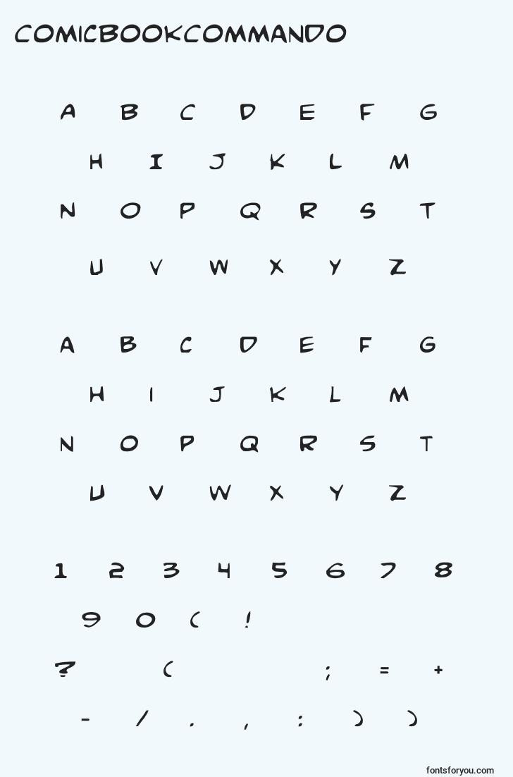 characters of comicbookcommando font, letter of comicbookcommando font, alphabet of  comicbookcommando font