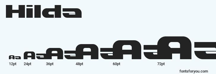 sizes of hilda font, hilda sizes