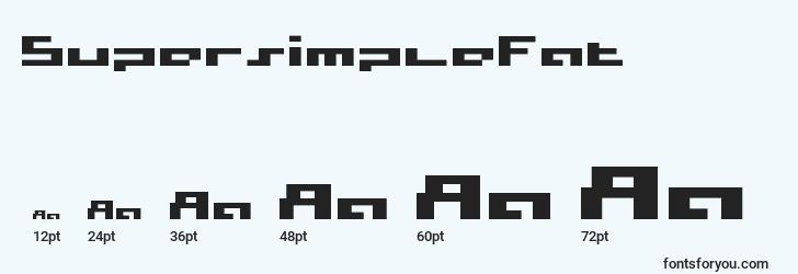 sizes of supersimplefat font, supersimplefat sizes