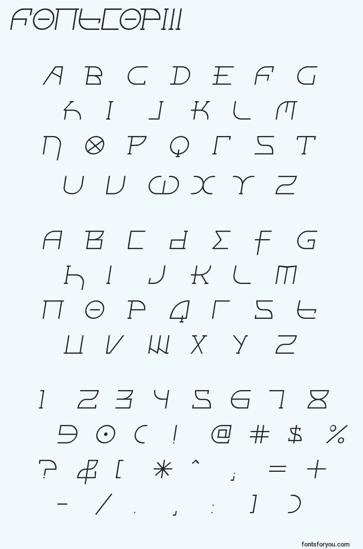 characters of fontcopiii font, letter of fontcopiii font, alphabet of  fontcopiii font