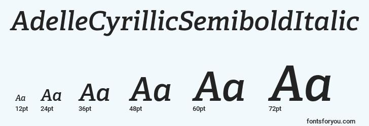 sizes of adellecyrillicsemibolditalic font, adellecyrillicsemibolditalic sizes