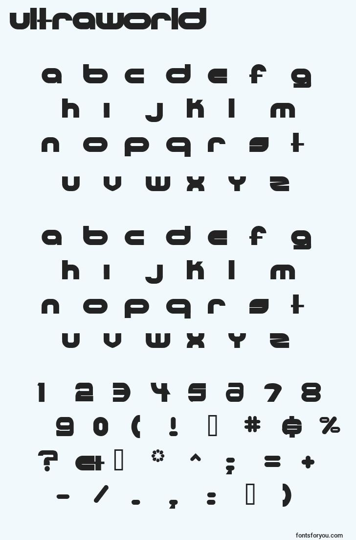 characters of ultraworld font, letter of ultraworld font, alphabet of  ultraworld font