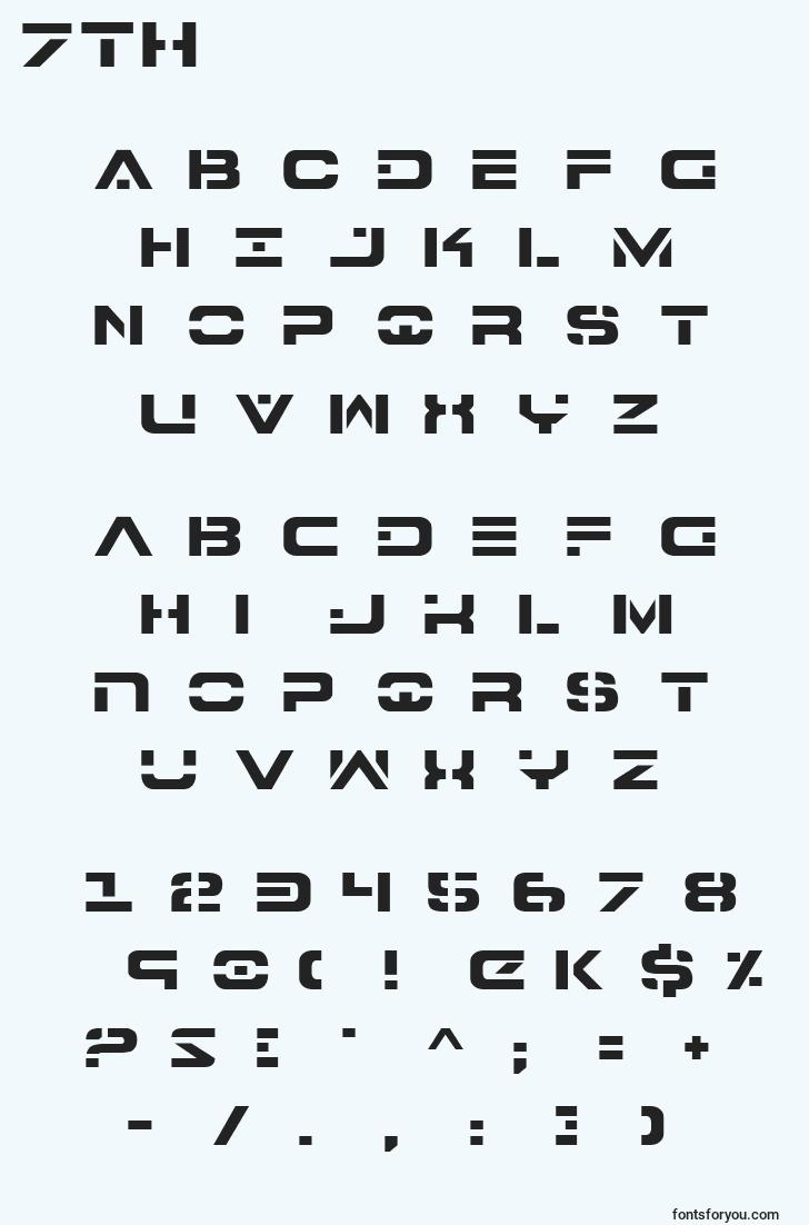 characters of 7th font, letter of 7th font, alphabet of  7th font