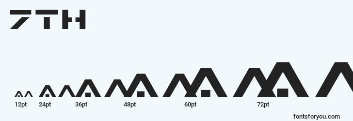 sizes of 7th font, 7th sizes