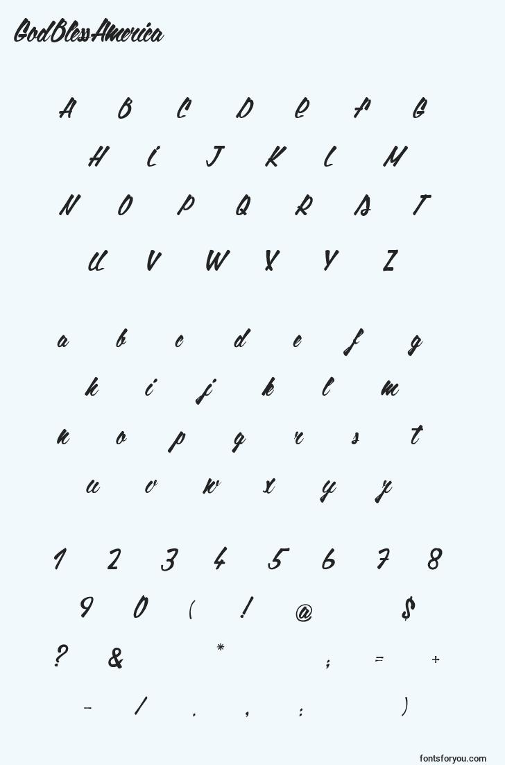 characters of godblessamerica font, letter of godblessamerica font, alphabet of  godblessamerica font