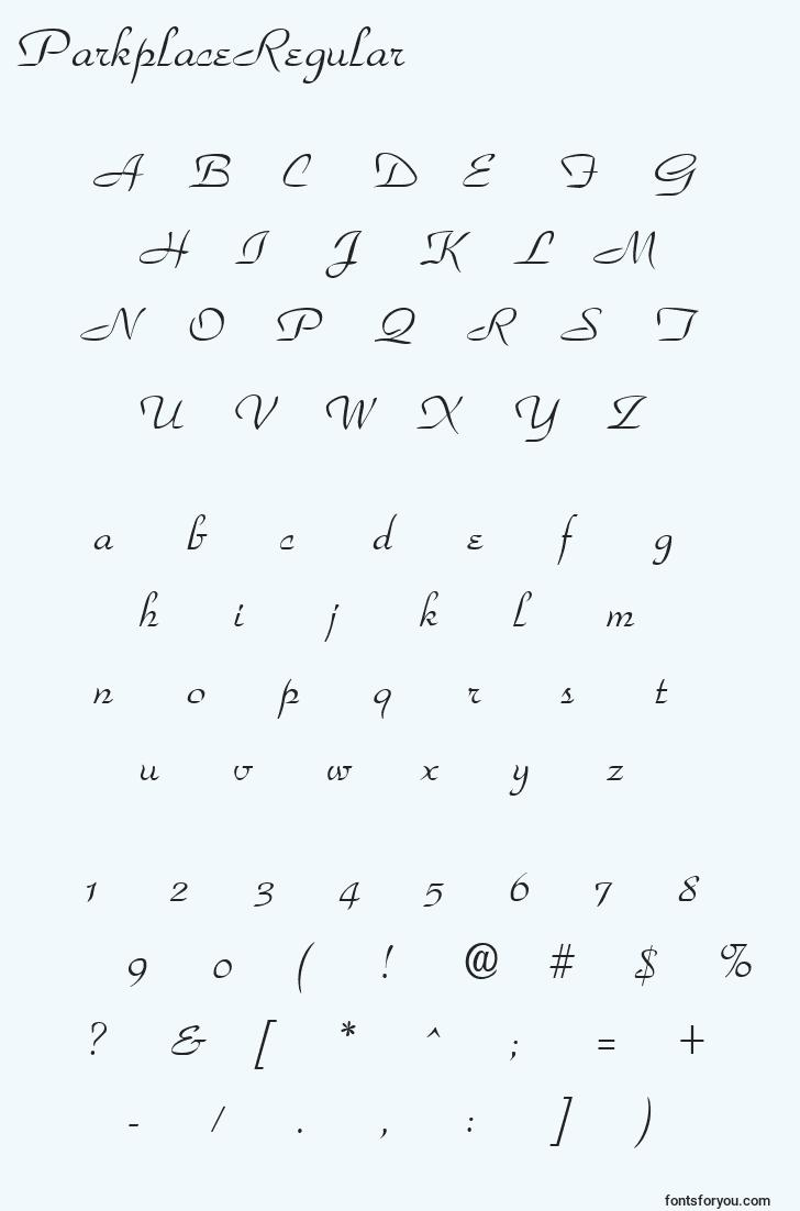 characters of parkplaceregular font, letter of parkplaceregular font, alphabet of  parkplaceregular font