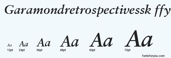 sizes of garamondretrospectivessk ffy font, garamondretrospectivessk ffy sizes