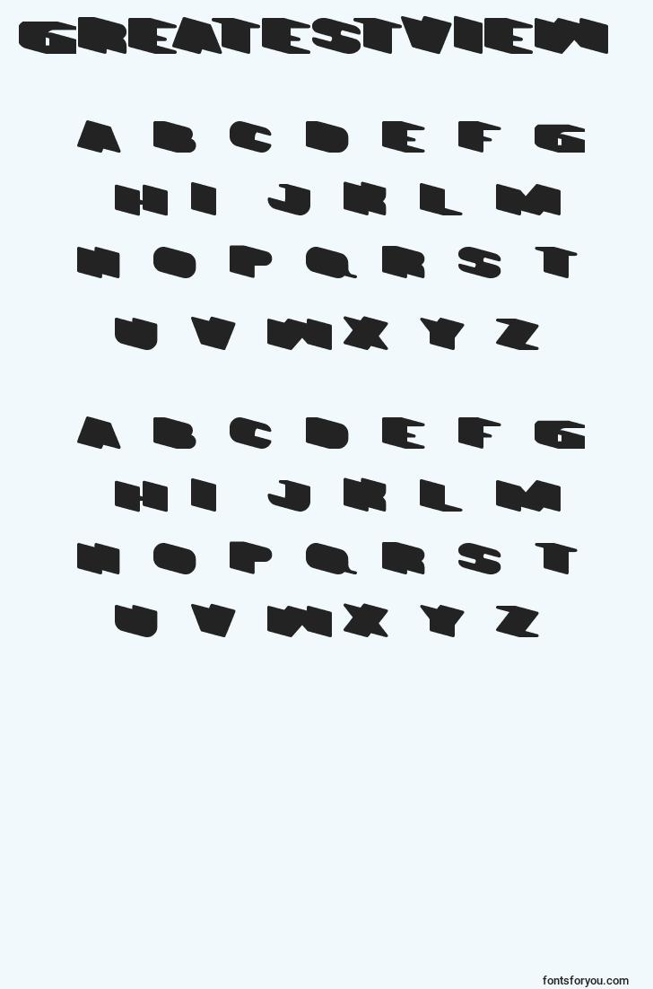 characters of greatestview font, letter of greatestview font, alphabet of  greatestview font