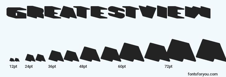 sizes of greatestview font, greatestview sizes