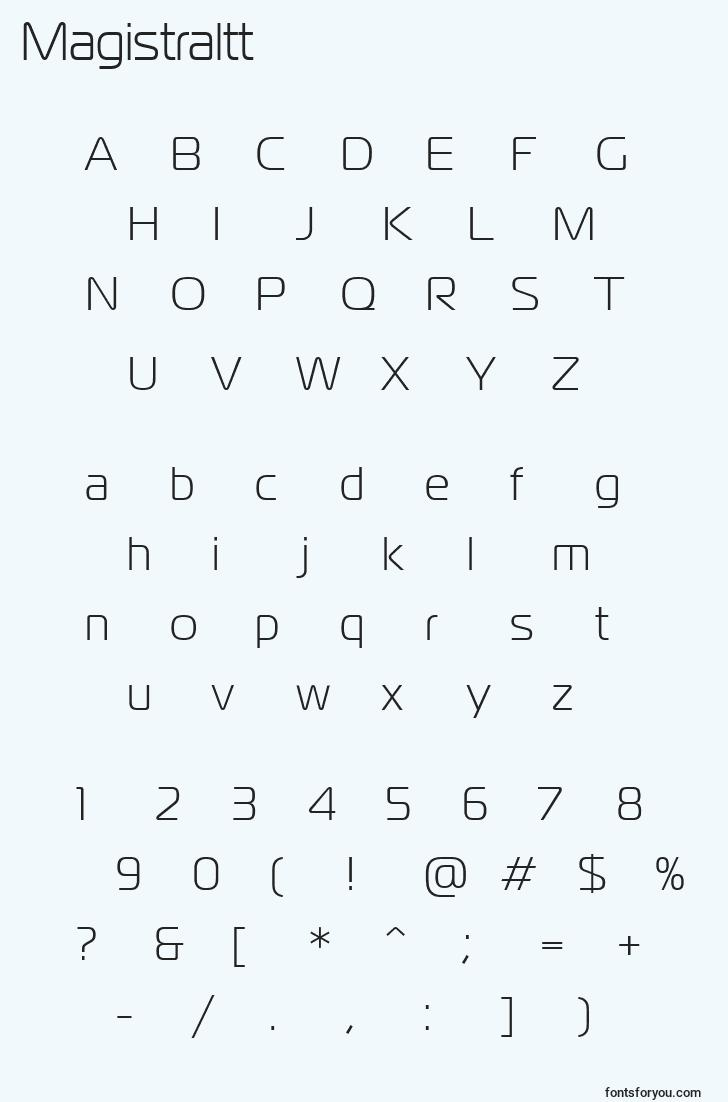 characters of magistraltt font, letter of magistraltt font, alphabet of  magistraltt font