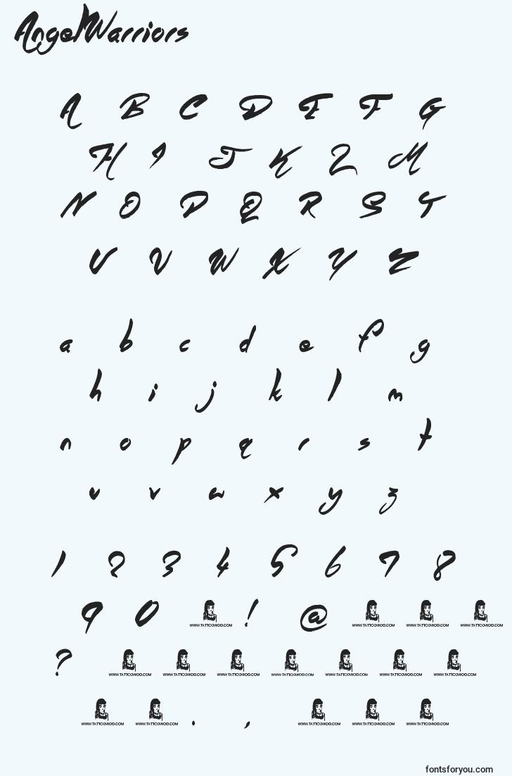 characters of angelwarriors font, letter of angelwarriors font, alphabet of  angelwarriors font
