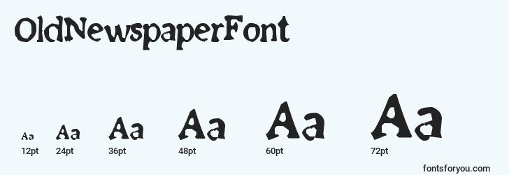 sizes of oldnewspaperfont font, oldnewspaperfont sizes