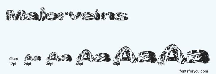 sizes of majorveins font, majorveins sizes