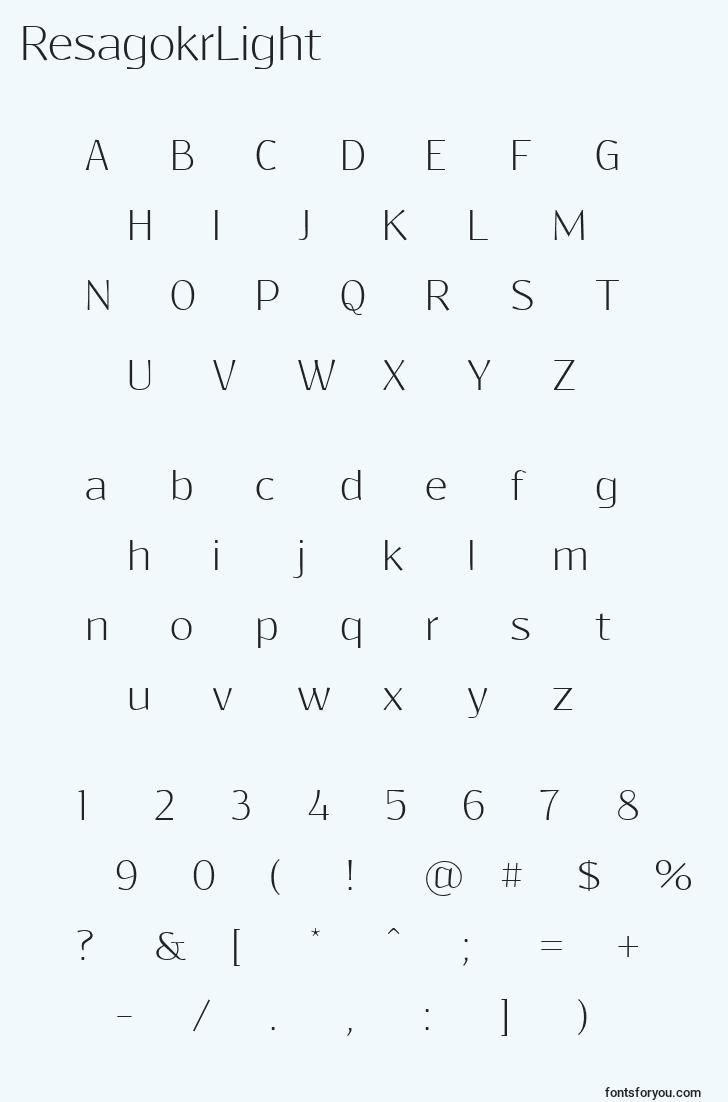 characters of resagokrlight font, letter of resagokrlight font, alphabet of  resagokrlight font