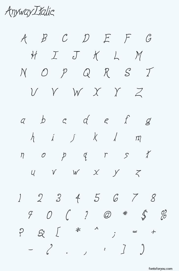 characters of anywayitalic font, letter of anywayitalic font, alphabet of  anywayitalic font