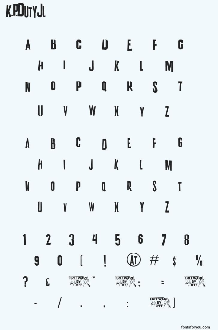 characters of k.p.dutyjl font, letter of k.p.dutyjl font, alphabet of  k.p.dutyjl font