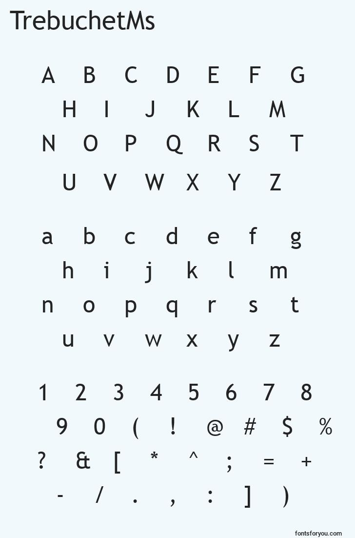 characters of trebuchetms font, letter of trebuchetms font, alphabet of  trebuchetms font