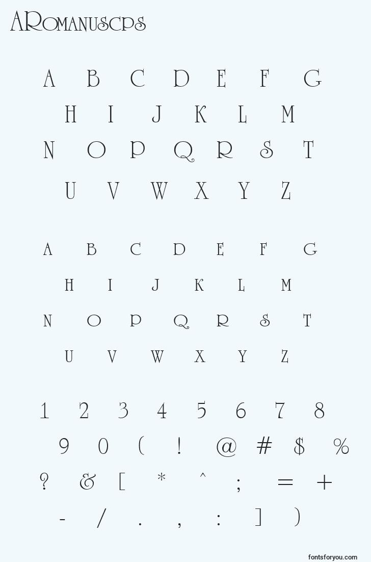 characters of aromanuscps font, letter of aromanuscps font, alphabet of  aromanuscps font