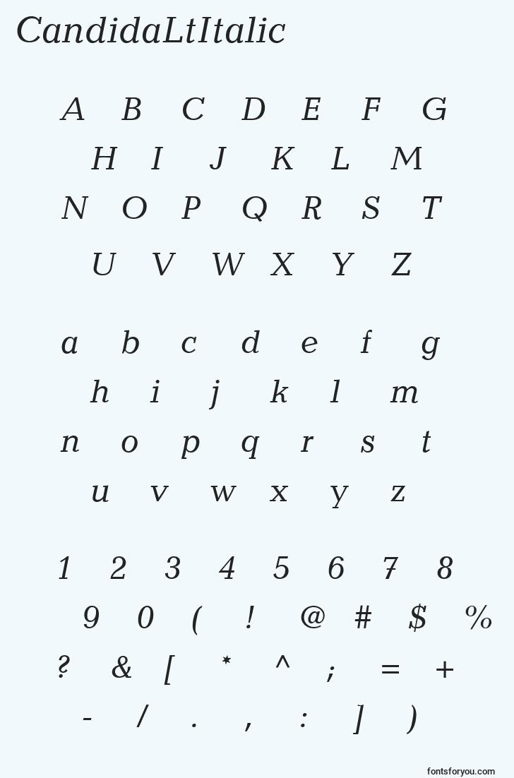 characters of candidaltitalic font, letter of candidaltitalic font, alphabet of  candidaltitalic font