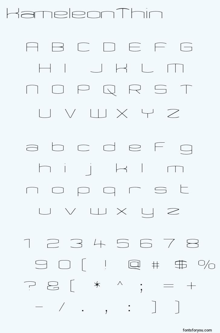 characters of kameleonthin font, letter of kameleonthin font, alphabet of  kameleonthin font