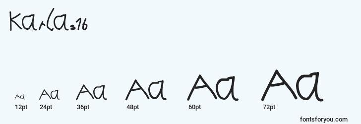 sizes of karlas1b font, karlas1b sizes