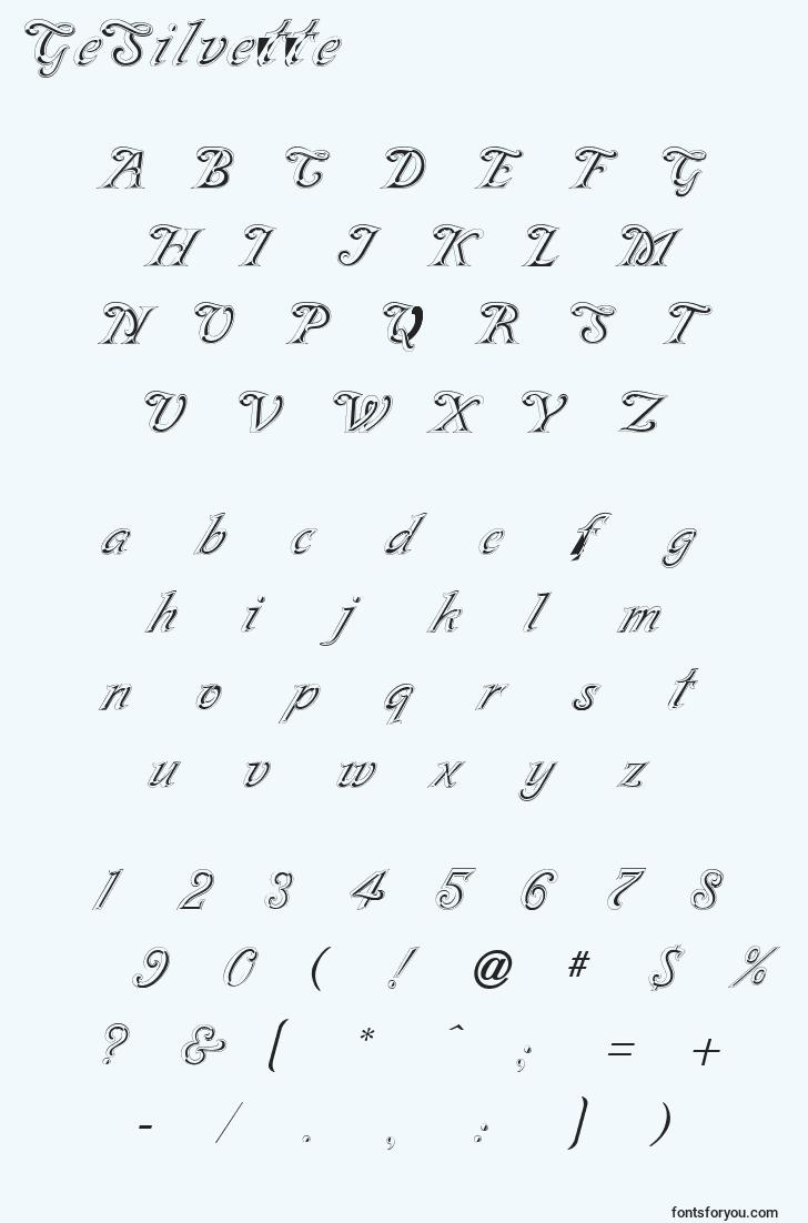 characters of gesilvette font, letter of gesilvette font, alphabet of  gesilvette font