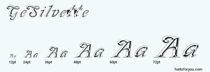 sizes of gesilvette font, gesilvette sizes