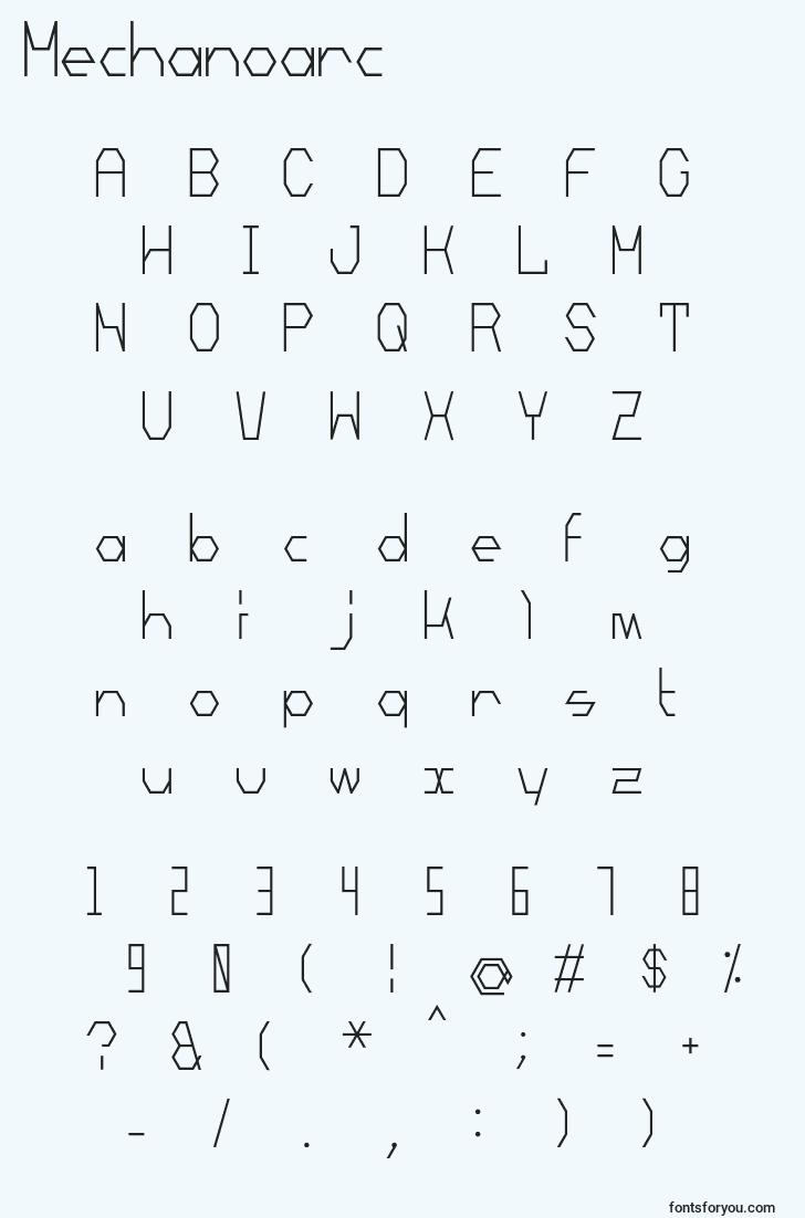 characters of mechanoarc font, letter of mechanoarc font, alphabet of  mechanoarc font