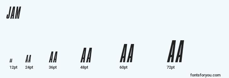 sizes of jam font, jam sizes