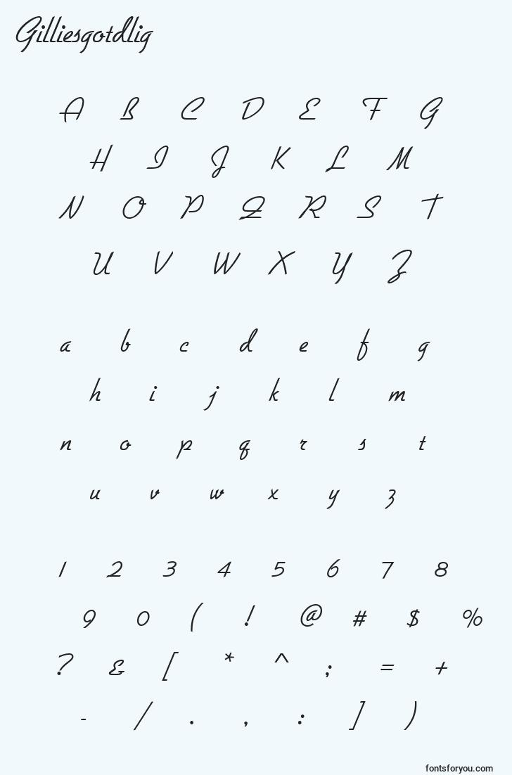 characters of gilliesgotdlig font, letter of gilliesgotdlig font, alphabet of  gilliesgotdlig font