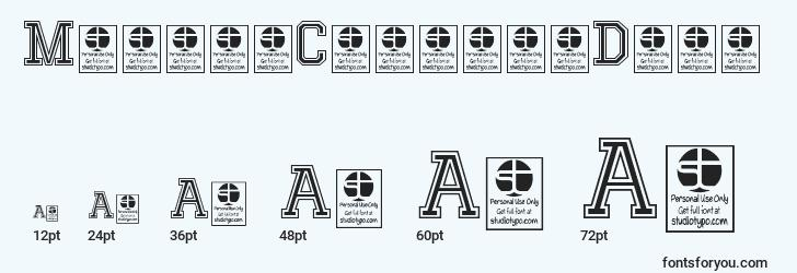 sizes of mixivacollegedemo font, mixivacollegedemo sizes