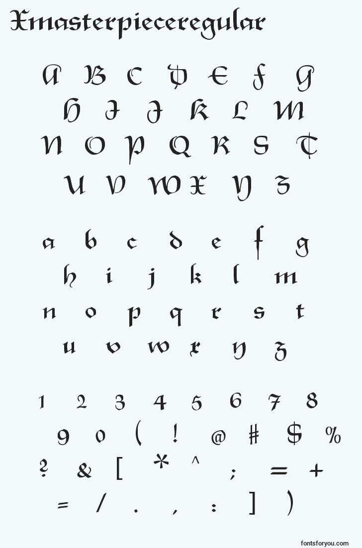 characters of xmasterpieceregular font, letter of xmasterpieceregular font, alphabet of  xmasterpieceregular font