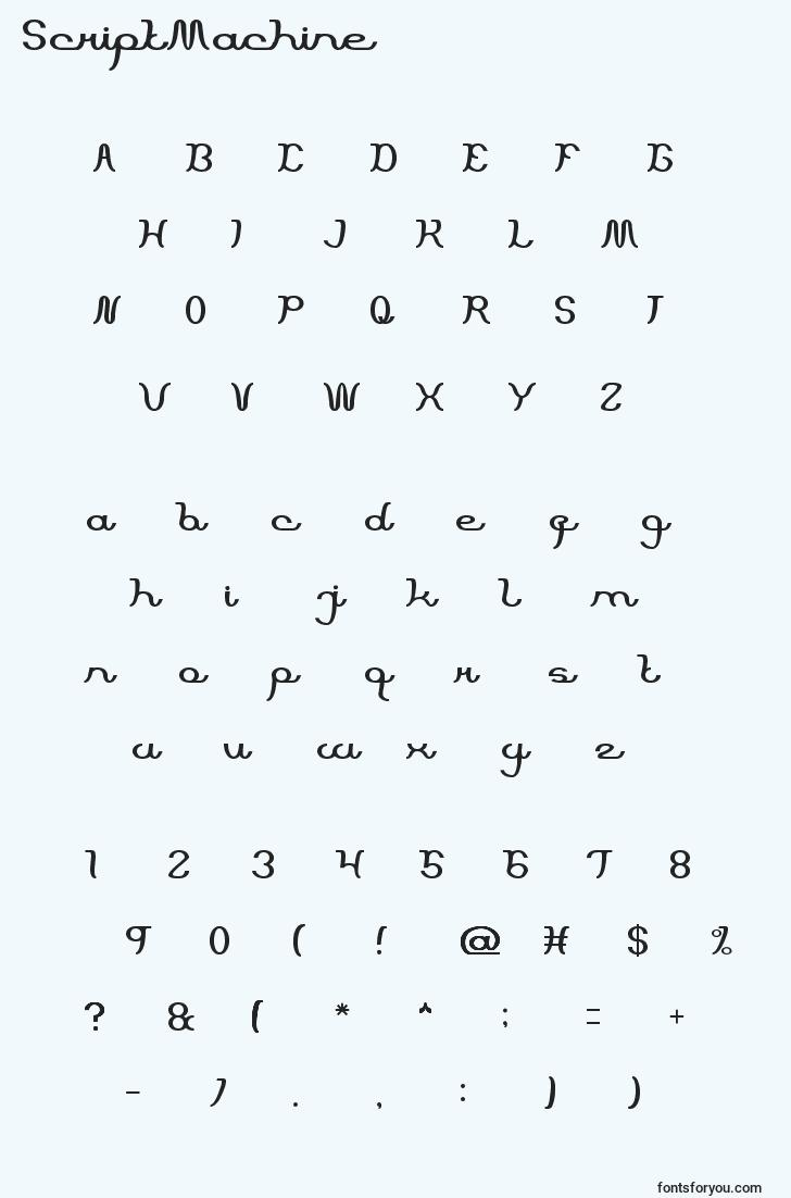 characters of scriptmachine font, letter of scriptmachine font, alphabet of  scriptmachine font
