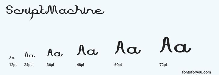 sizes of scriptmachine font, scriptmachine sizes