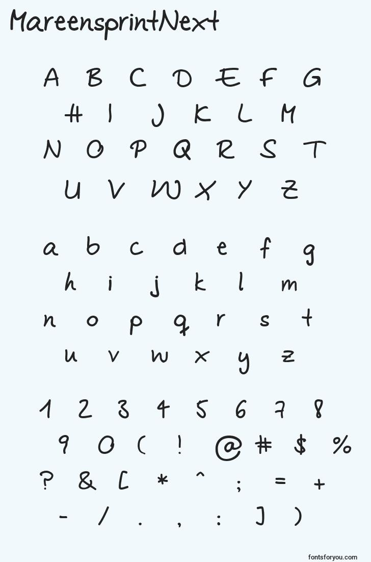 characters of mareensprintnext font, letter of mareensprintnext font, alphabet of  mareensprintnext font