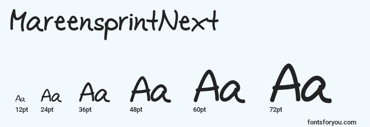 sizes of mareensprintnext font, mareensprintnext sizes