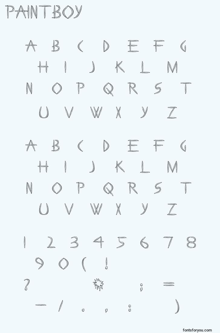 characters of paintboy font, letter of paintboy font, alphabet of  paintboy font