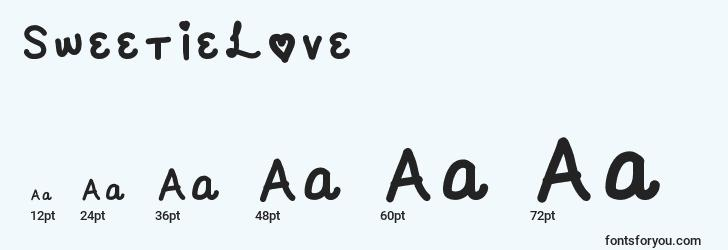 sizes of sweetielove font, sweetielove sizes