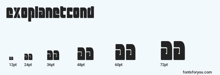 sizes of exoplanetcond font, exoplanetcond sizes