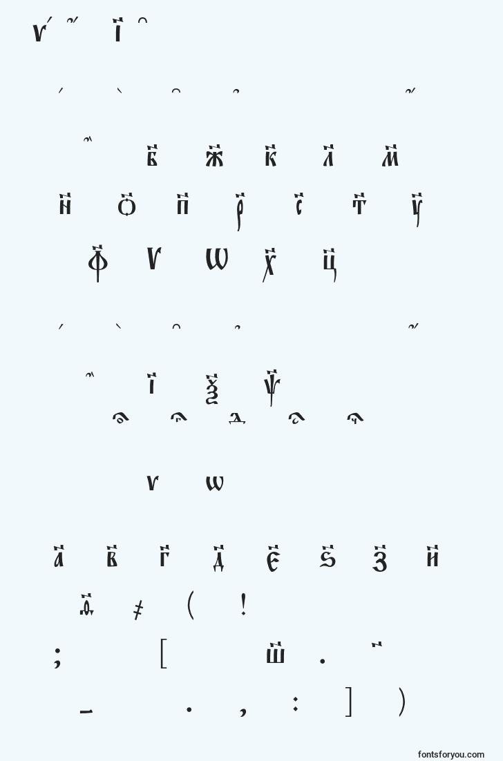 characters of evangeliec font, letter of evangeliec font, alphabet of  evangeliec font