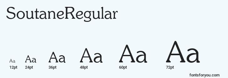 sizes of soutaneregular font, soutaneregular sizes